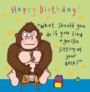 Gorilla Funny Joke Birthday Card For Kids tw434